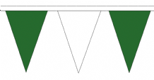 Green and White Traditional 20m 54 Flag Polyester Triangle Flag Bunting